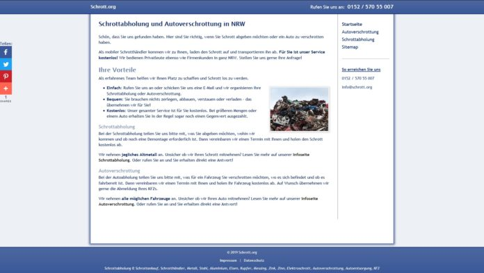 schrott org webseite 696x392 - Regelmäßige Schrottabholung für Unternehmen und Privatleute