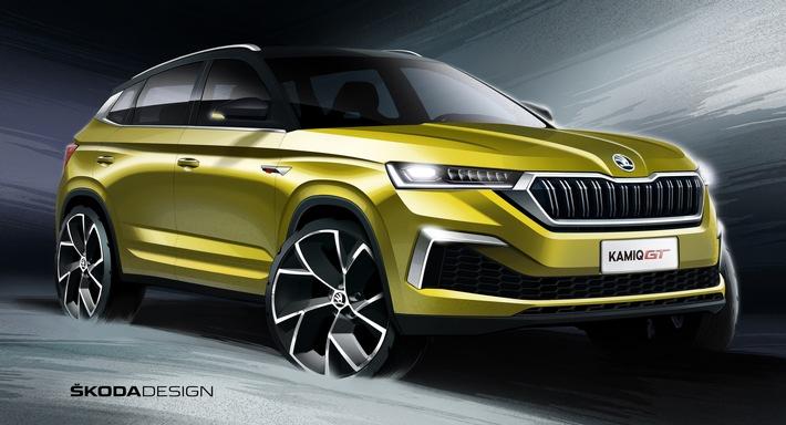 SKODA zeigt Designskizzen des neuen SUV-Coupés KAMIQ GT für China