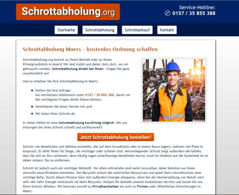 Schrottabholung Moers: Der mobile Schrotthändler holt Altmetallschrott beim Kunden ab