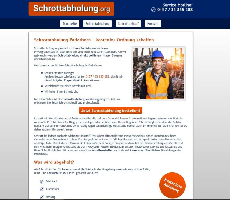 Schrottabholung Paderborn – unterwegs in ganz NRW