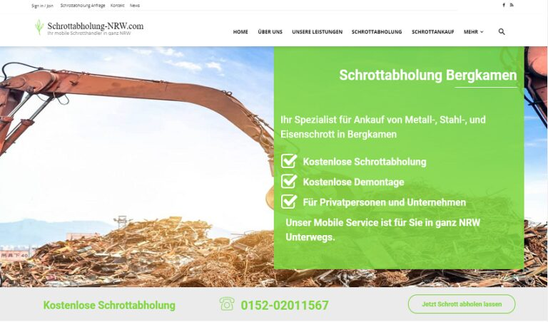 Schrottabholung Bergkamen holt Ihren Schrott und demontiert Metallschrott von Privat- und Gewerbekunden