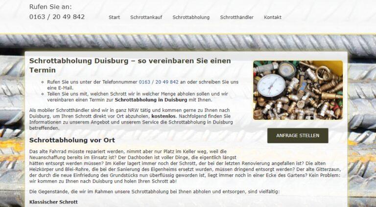 Schrottabholung in Duisburg von Privat und Gewerbe