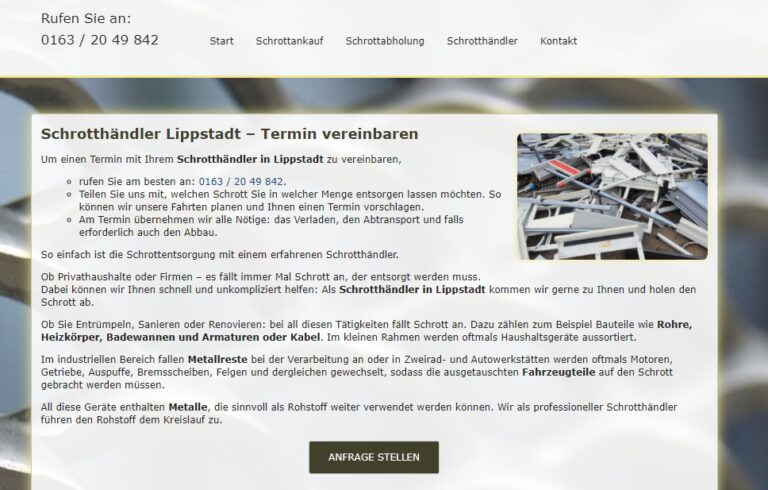Schrotthändler Lippstadt : kümmert sich kostenlos, schnell und professionell um Ihren Schrott
