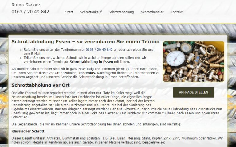 In Essen kostenlos Schrottabholung schneller Service mit Schrott-Ankauf-NRW
