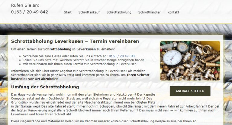 Schrottabholung Krefeld : Wir sind schon seit vielen Jahren erfolgreich im Schrotthandel sowie der Schrottabholung Krefeld tätig