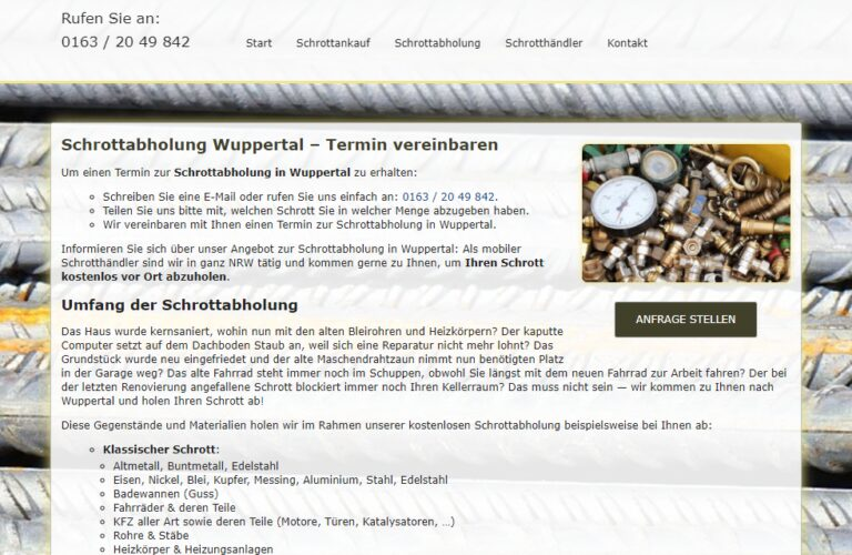 Schrottabholung Wuppertal – Kostenlose Abholung von Metall